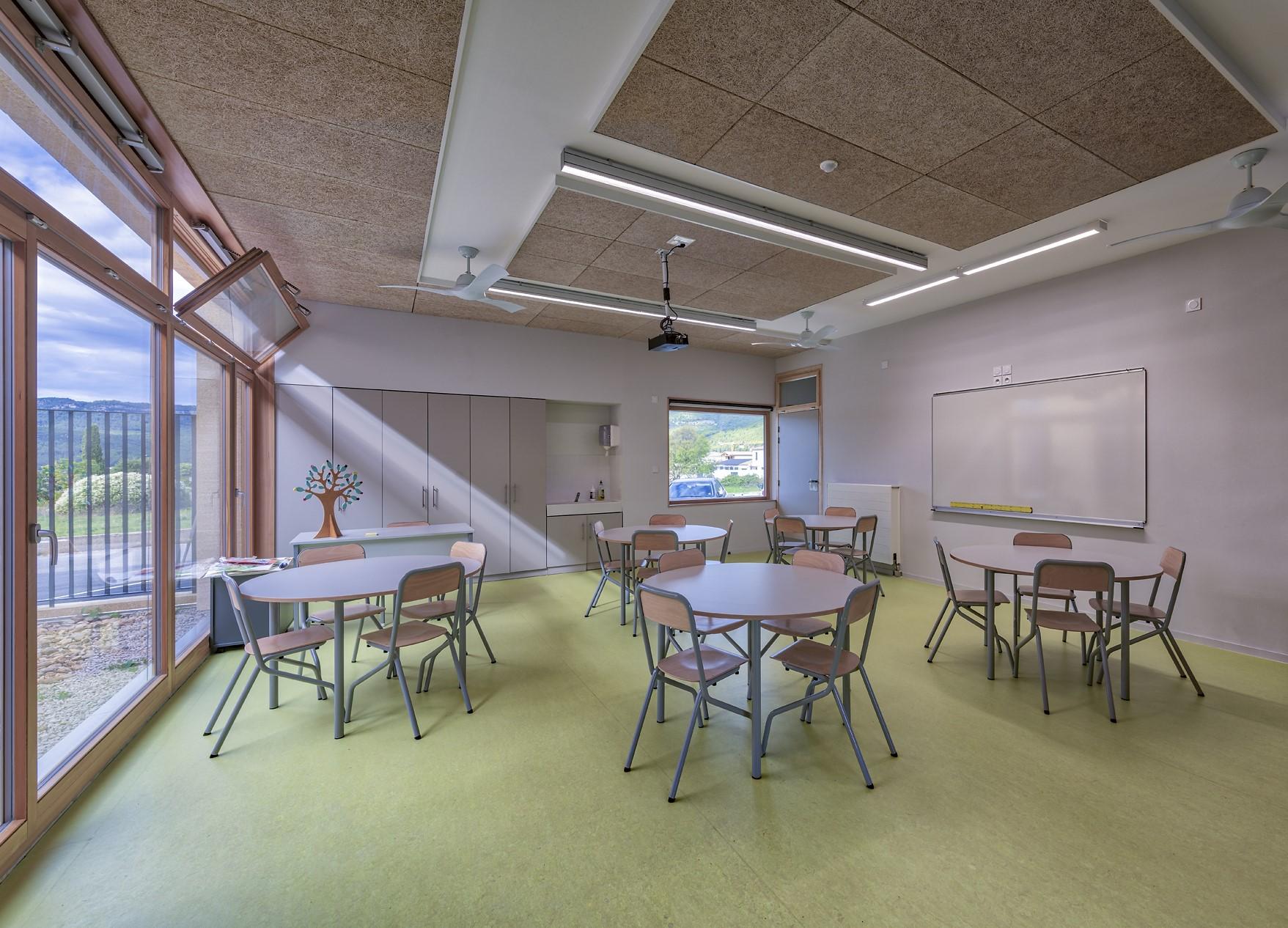 Eclairage d'une classe dans l'école Simone Veil