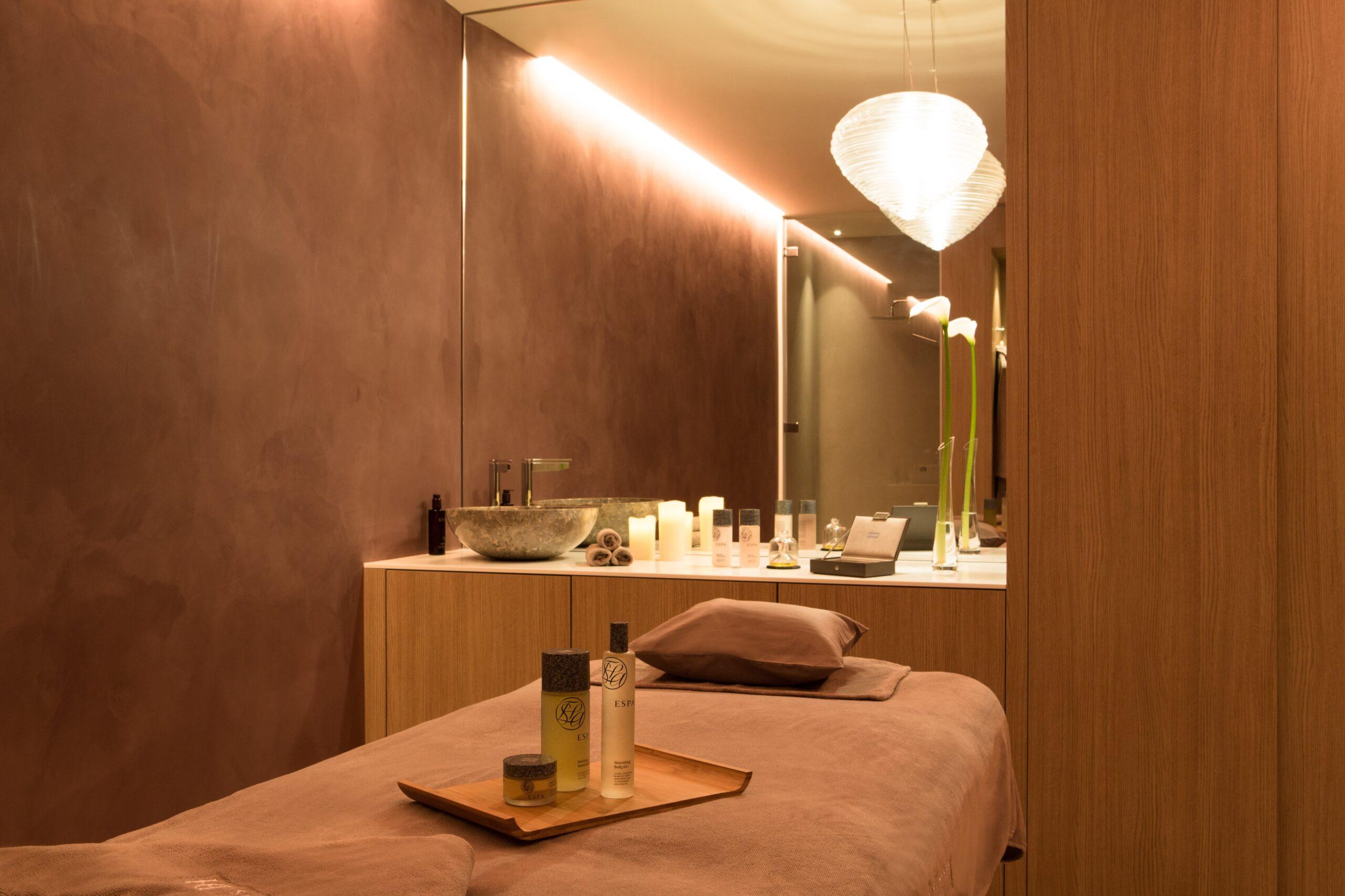 Eclairage de la salle de massage de l'Hôtel Spa du Castellet