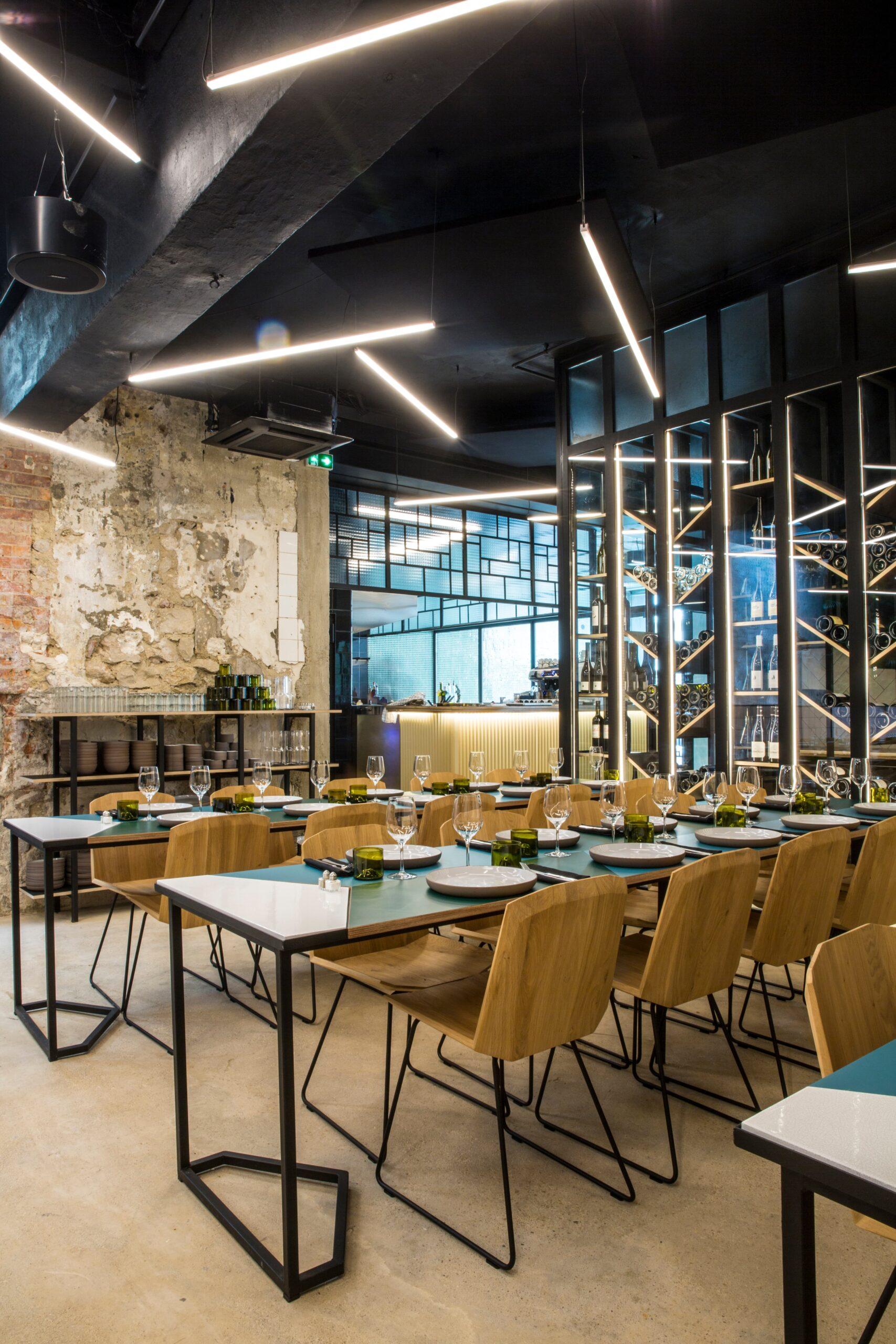 Vue d'ensemble de l'eclairage du restaurant Matière Brut