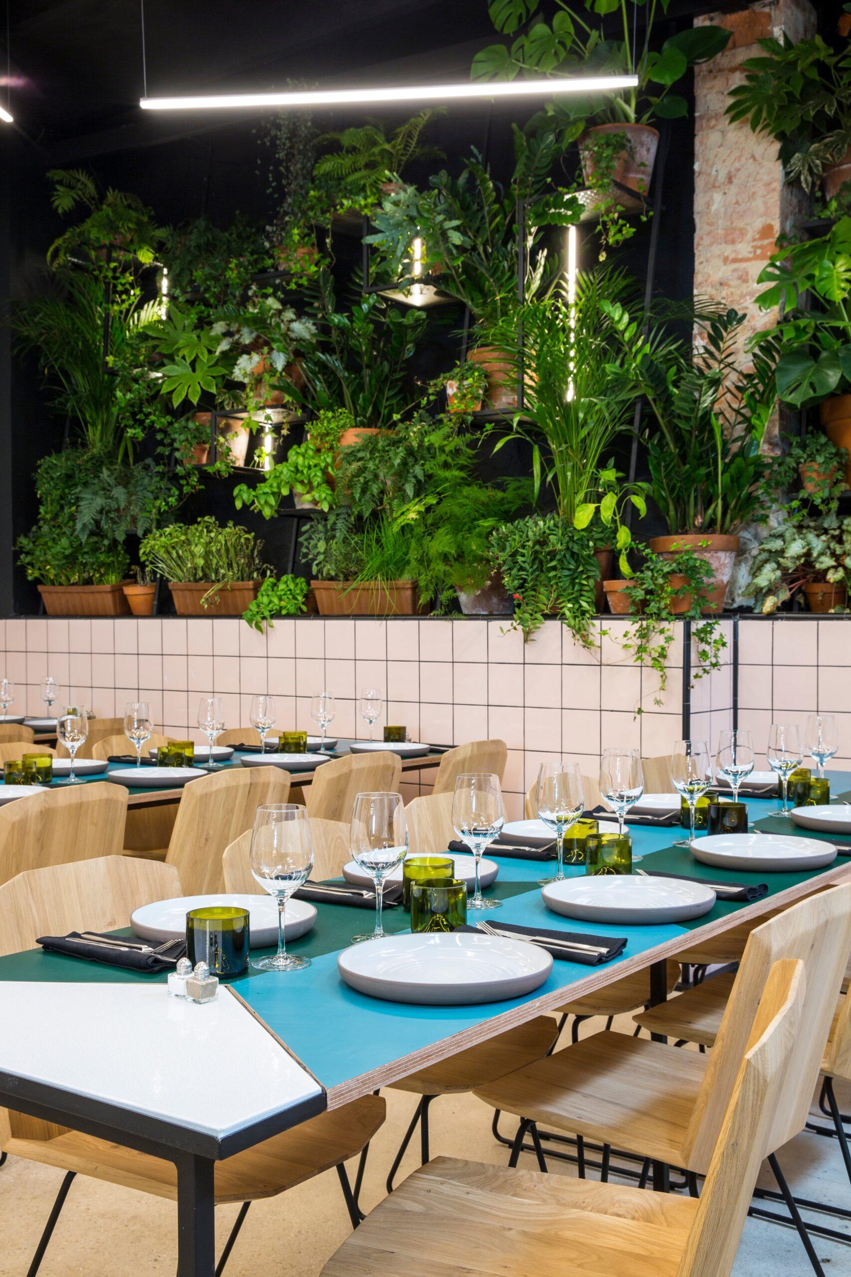 Focus sur l'eclairage à côté du mur végétal du restaurant Matière Brut