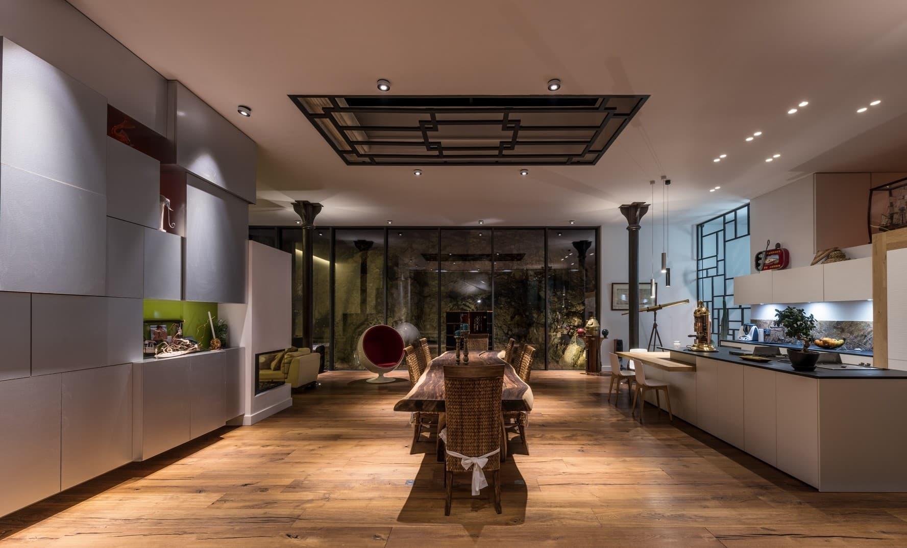 Eclairage du salon de la villa privée Tango
