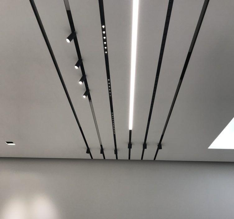 Rails magnétiques accrochés au plafond