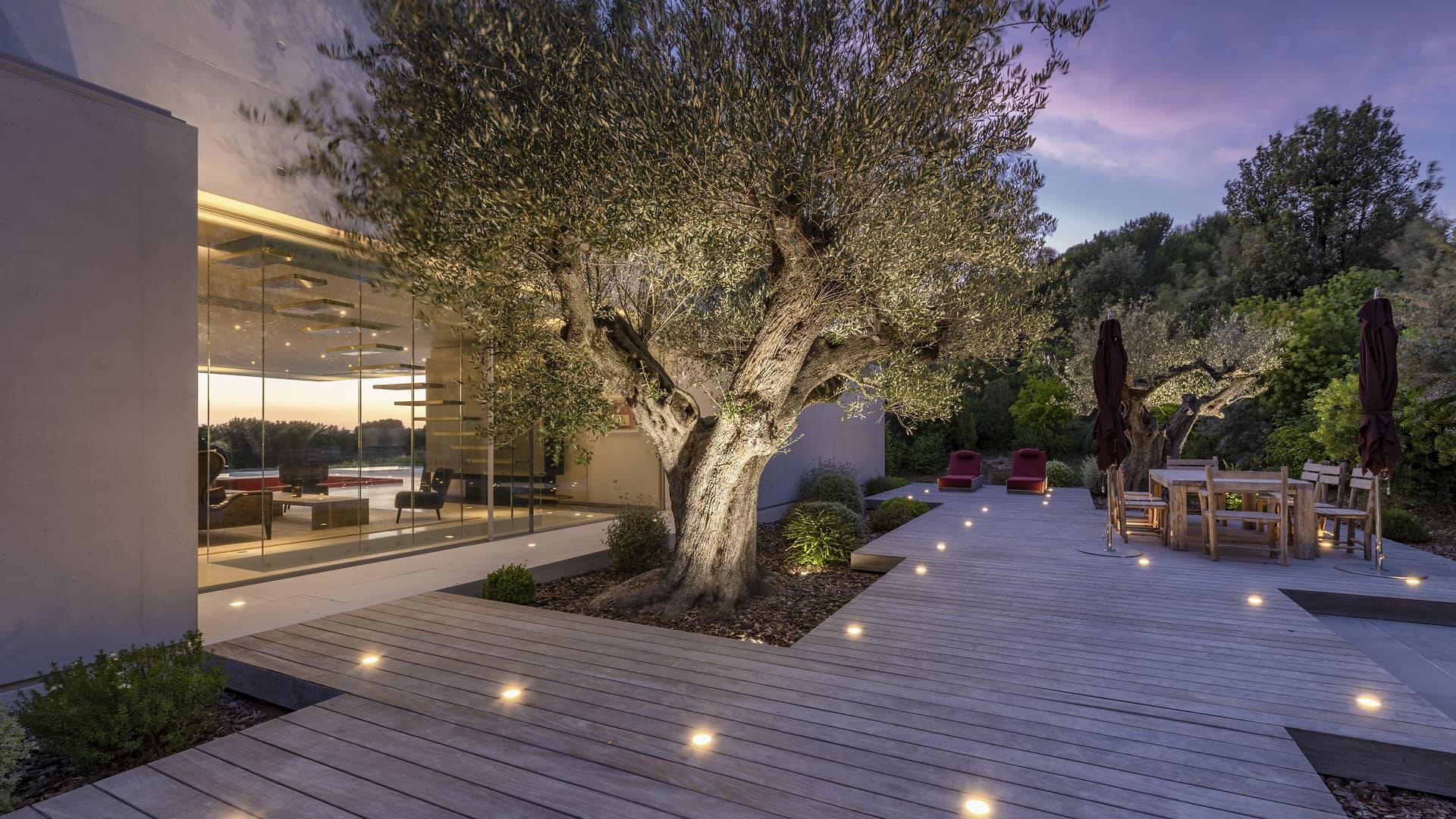 Eclairage de la terrasse avec des spots encastrés et éclairage d'un arbre à l'extérieur de la villa privé Sigma